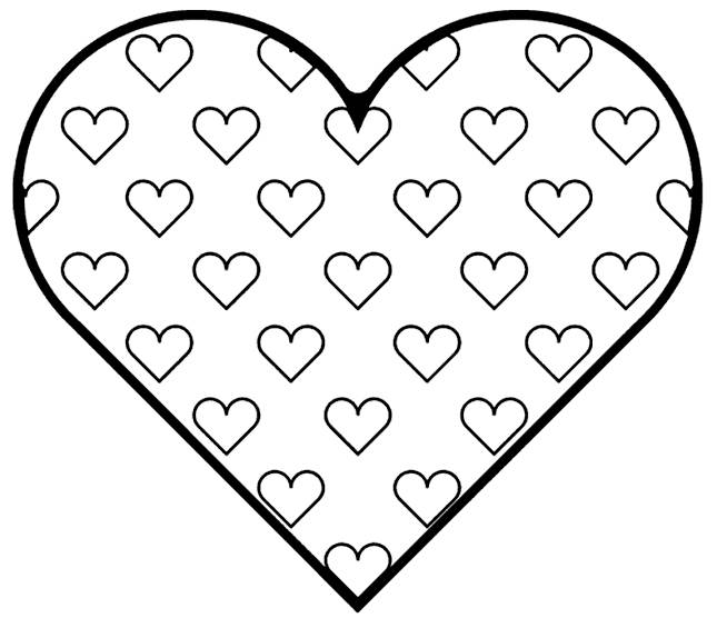 Free coloring and drawings A beautiful heart of love Coloring page