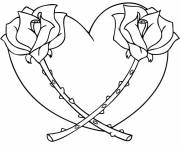 Free coloring and drawings Heart and Flowers Coloring page