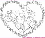 Free coloring and drawings Heart and Flowers in the center Coloring page