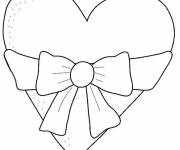 Free coloring and drawings Heart decorated with Bow Coloring page