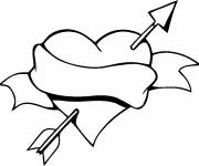Free coloring and drawings Love Heart and Arrow Coloring page