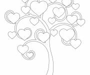 Free coloring and drawings Tree full of hearts Coloring page
