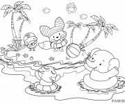 Coloring pages Animals on the Beach