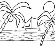 Coloring pages Beach and boat