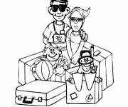 Coloring pages Family on Vacation