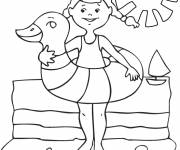 Coloring pages Girl on summer vacation