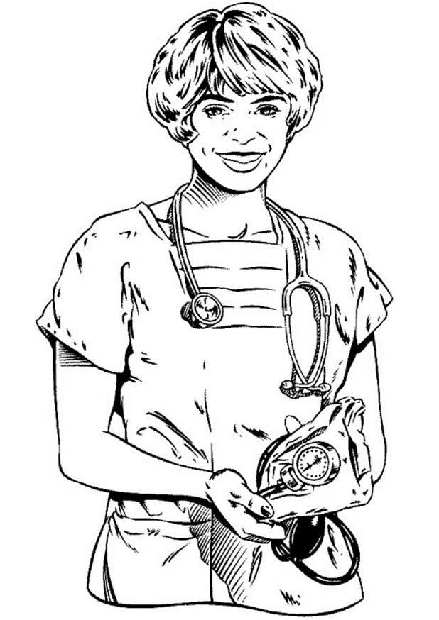 Free coloring and drawings A Doctor with Stethoscope Coloring page
