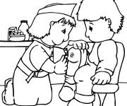 Coloring pages Nurse and Little Child