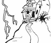 Coloring pages A house that scares