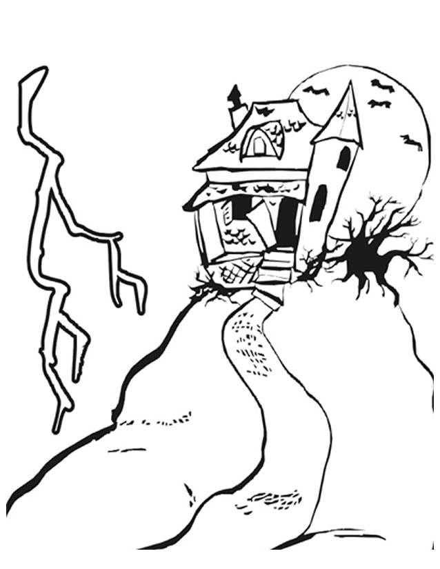 Free coloring and drawings A house that scares Coloring page
