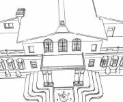 Free coloring and drawings An extraordinary house Coloring page