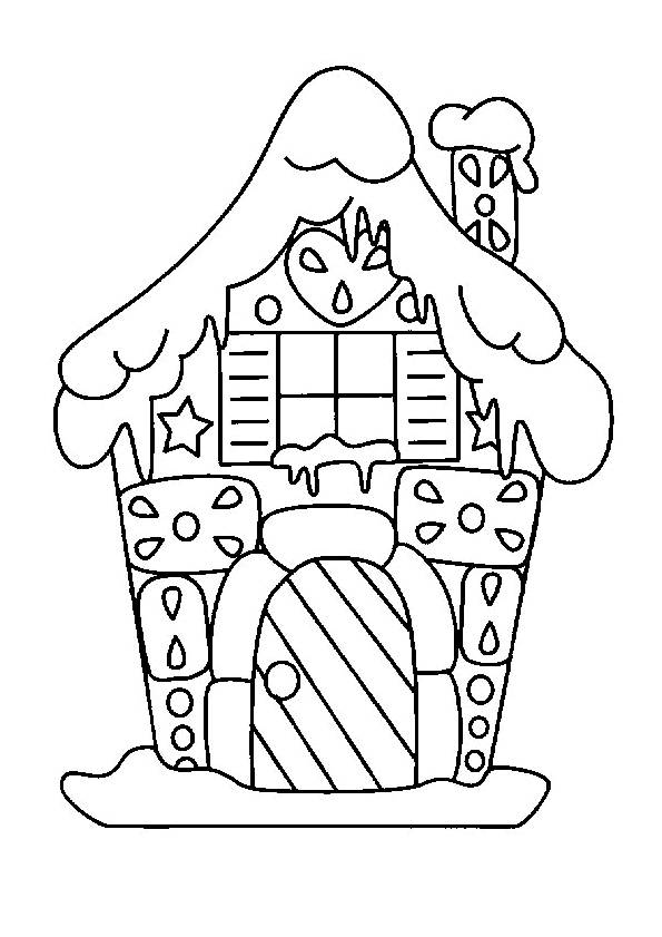 Free coloring and drawings Any Little House covered by the snow Coloring page