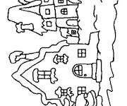 Free coloring and drawings Buildings in Winter Coloring page