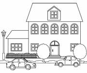 Free coloring and drawings Cardboard coloring house Coloring page