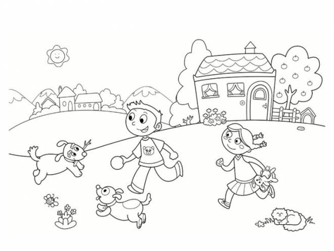 Free coloring and drawings Children playing in the countryside Coloring page