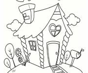 Free coloring and drawings Cottage full of love Coloring page