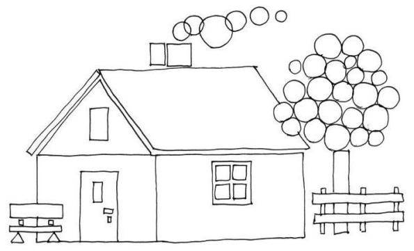 Free coloring and drawings Cottage simple Coloring page