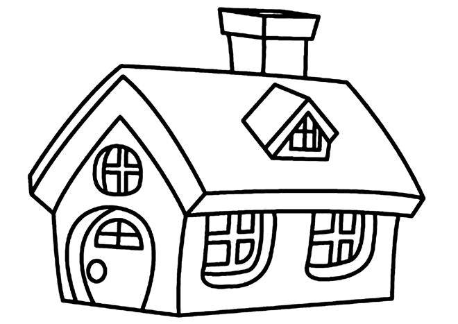 Free coloring and drawings Cottage with fireplace Coloring page