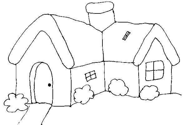 Free coloring and drawings Easy Cottage Coloring page