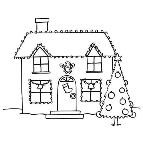 Free coloring and drawings Home and Christmas Decoration Coloring page
