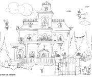 Coloring pages House in Halloween