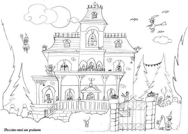 Free coloring and drawings House in Halloween Coloring page