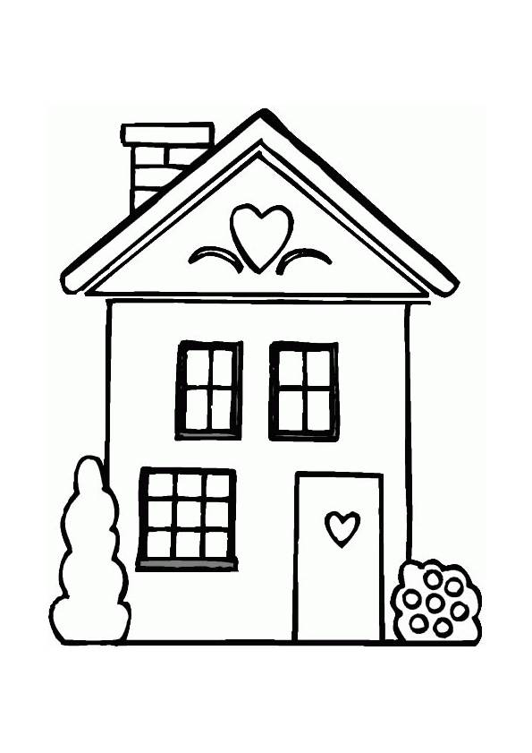 Free coloring and drawings House in vector Coloring page