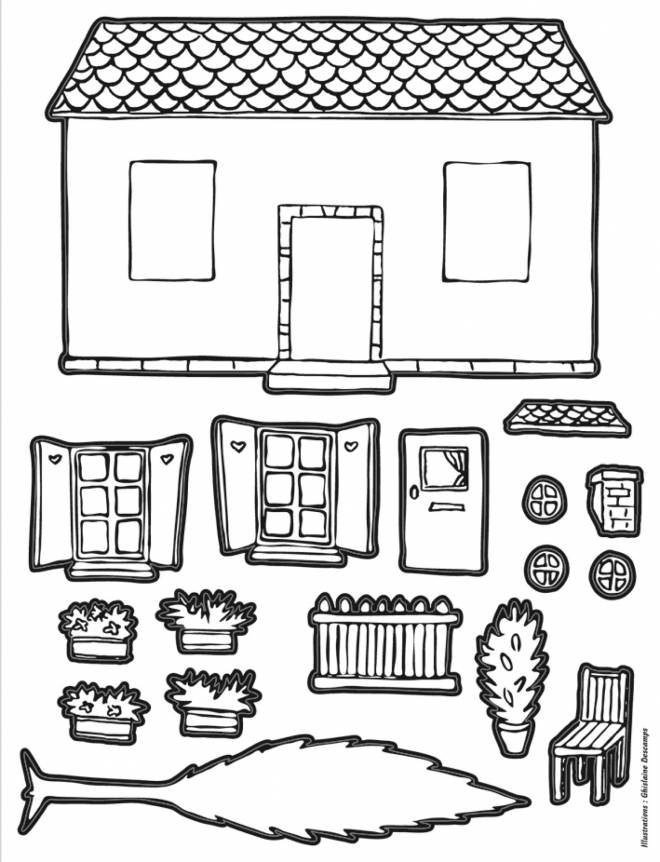 Free coloring and drawings House to assemble Coloring page