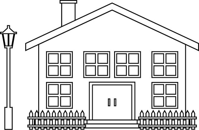 Free coloring and drawings House to decorate Coloring page