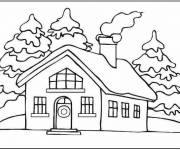 Coloring pages House under the Snow