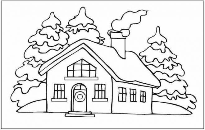 Free coloring and drawings House under the Snow Coloring page
