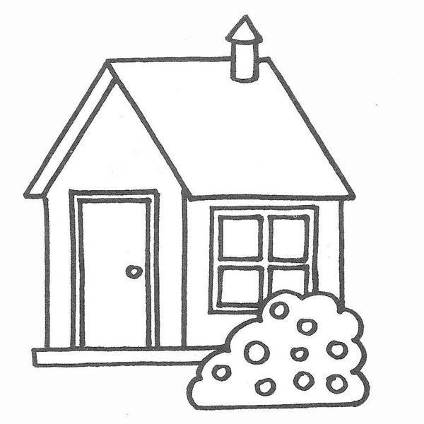 Free coloring and drawings House with a fireplace Coloring page