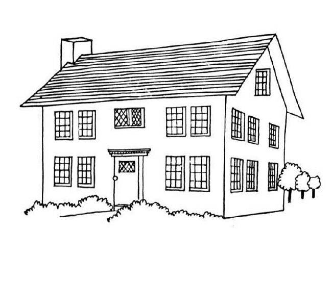 Free coloring and drawings Landscape of a House Coloring page