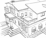 Free coloring and drawings Luxury house Coloring page