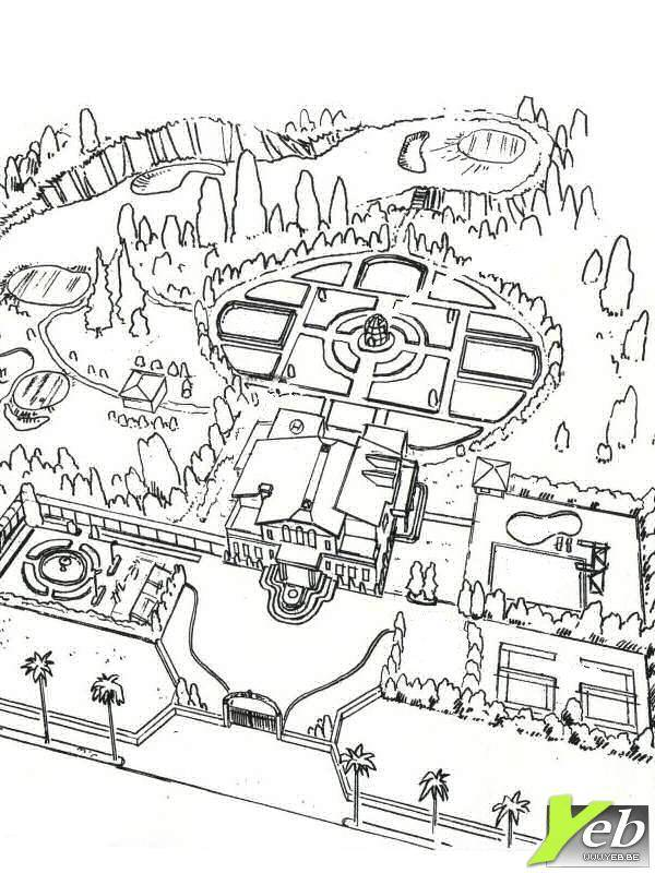 Free coloring and drawings Luxury house with a large garden Coloring page