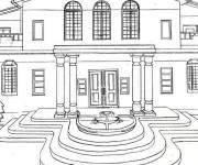 Coloring pages Luxury house with a splendid facade