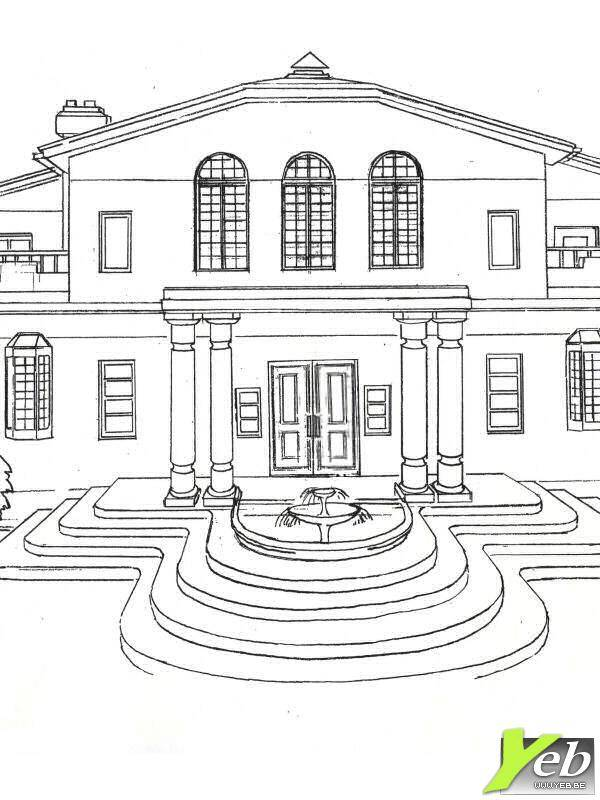 Free coloring and drawings Luxury house with a splendid facade Coloring page