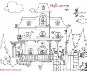 Coloring pages Magic halloween house