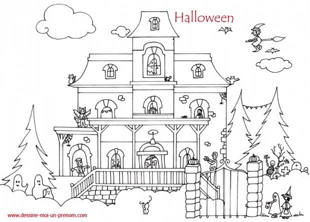 Free coloring and drawings Magic halloween house Coloring page