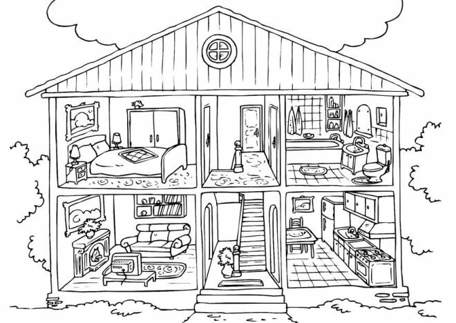 Free coloring and drawings Model house to color Coloring page