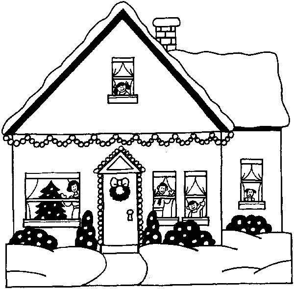 Free coloring and drawings Modern Christmas house Coloring page