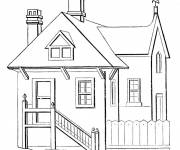 Coloring pages Modern wooden house