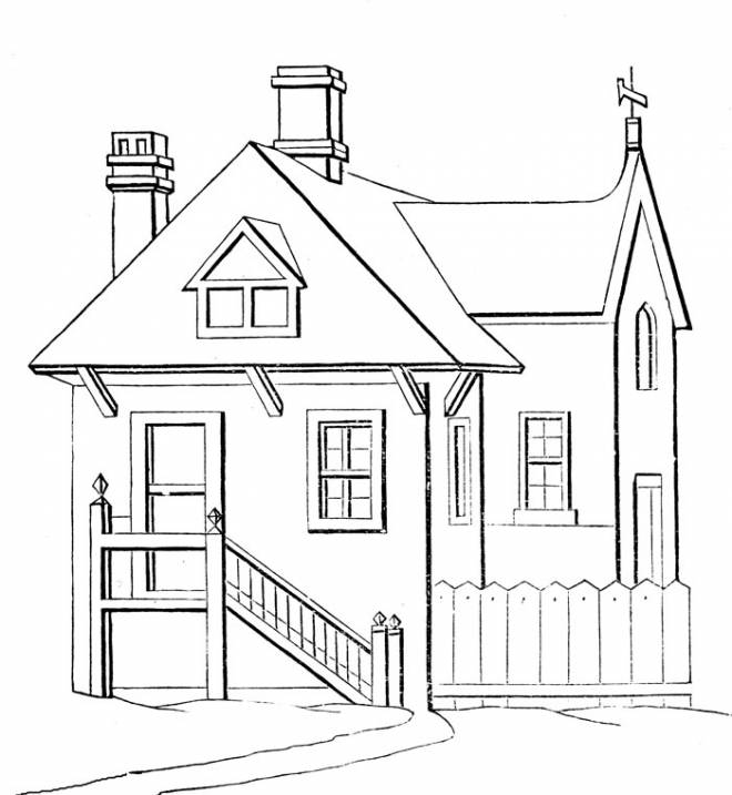 Free coloring and drawings Modern wooden house Coloring page
