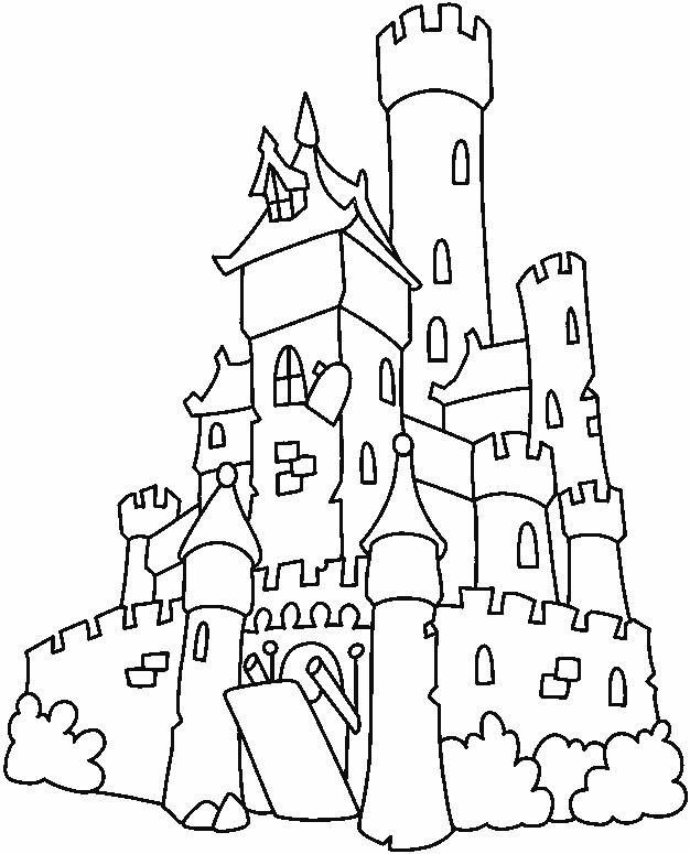 Free coloring and drawings Simple old castle Coloring page