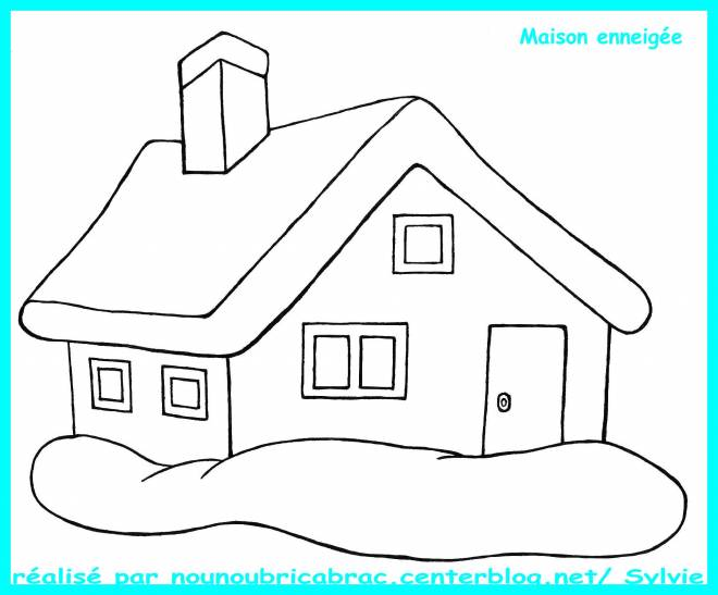 Free coloring and drawings Snowy house Coloring page