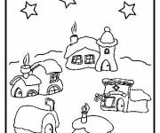 Coloring pages Snowy house in color
