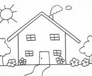 Free coloring and drawings Stylized house Coloring page