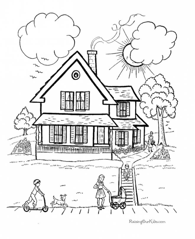Free coloring and drawings Timber house Coloring page