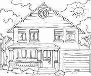 Coloring pages Wooden house front view