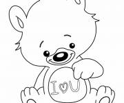 Free coloring and drawings Bear carries a heart of love Coloring page